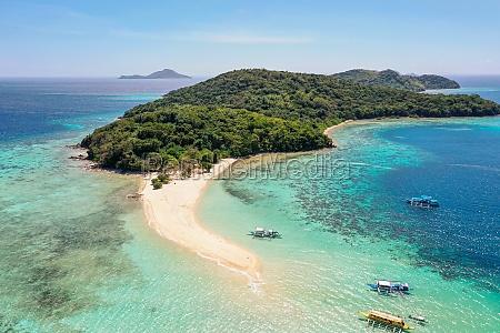 aerial view of ditaytayan island palawan