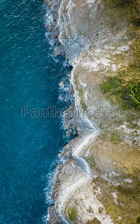 aerial view of coastline durlston country