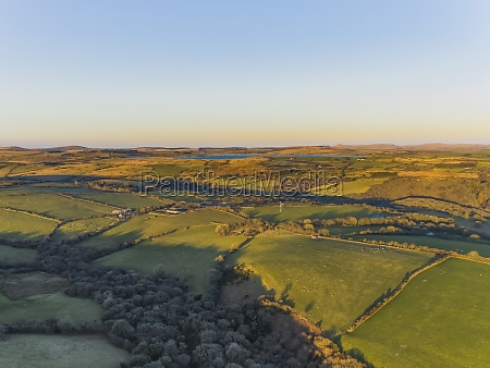 aerial view of bodmin moor countryside