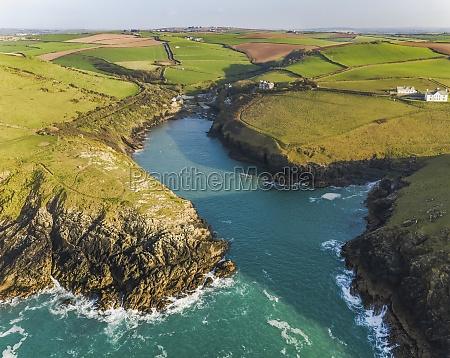 aerial view of port quin shoreline
