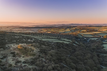aerial view of millpool countryside at