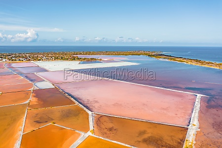 aerial view of salt mines with