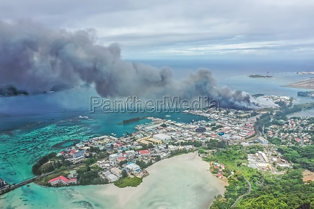 aerial view of a huge smoke