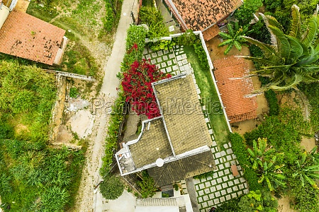 aerial view of red rooftops and