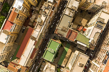 aerial view of urban setting in