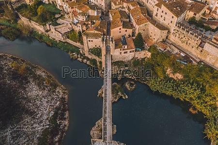 aerial view of pont de besalu
