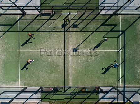 aerial view of two people playing