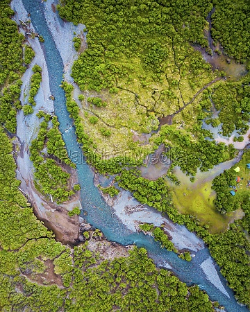 aerial view of a small river