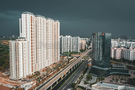 aerial view of new delhi suburb