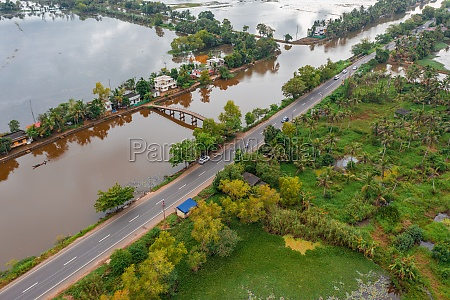 aerial view of the backwaters kerala