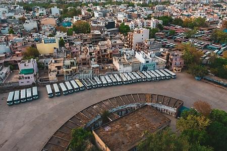 aerial view of gurugram bus station