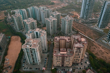 aerial view of the skyscrapers financial