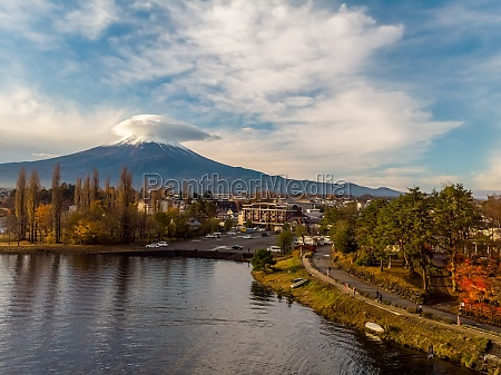 aerial view of mount fuji with