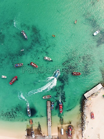 aerial view of small fishing boats