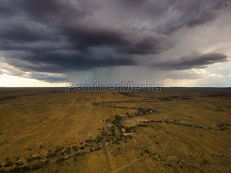 aerial view of thunderstorm rain over
