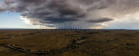 panoramic aerial view of thunderstorm rain