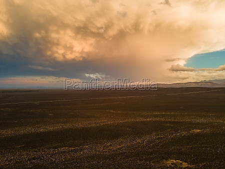 aerial view of thunderstorm over the