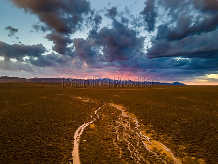 aerial view of sunset rain river