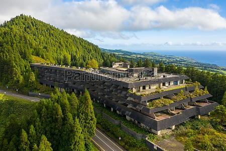 aerial view of abandoned hotel near