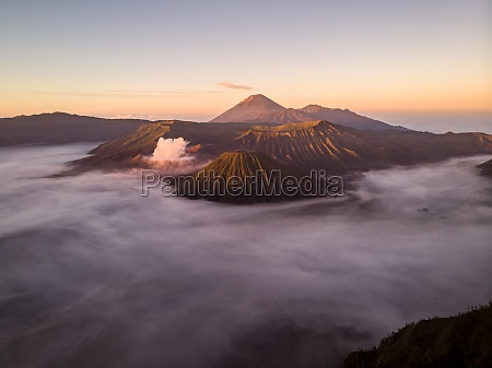 aerial view of mount bromo surrounded