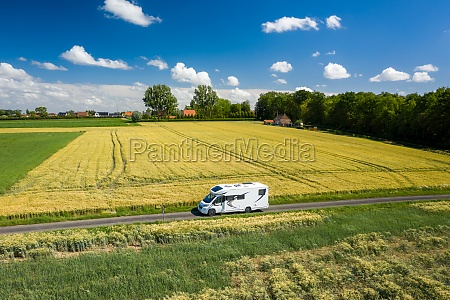 aerial view of a motorhome driving