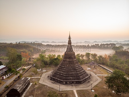 aerial view of ratanabon pagoda with
