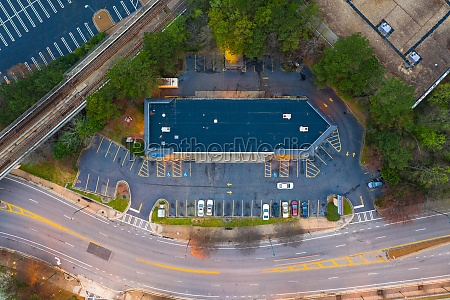 aerial view of the parking lot