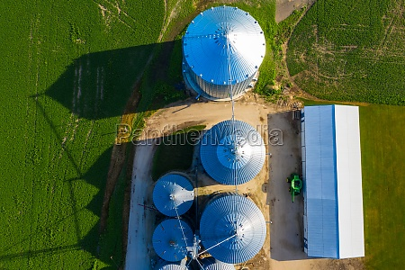 aerial view of a silos in