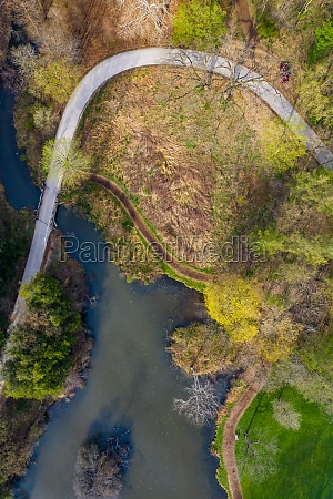 aerial view of pathway along the