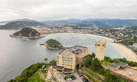 aerial view of beach san sebastian