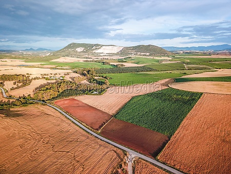 aerial view of agricultural landscape in
