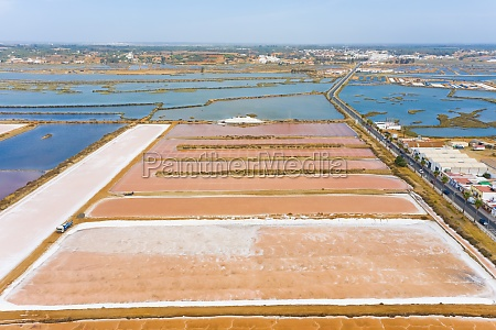 aerial view of fish farming fields