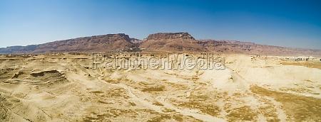 panoramic aerial view of mount masada