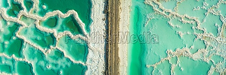 panoramic aerial view of salt veins