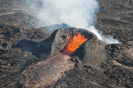 aerial view of lava in small