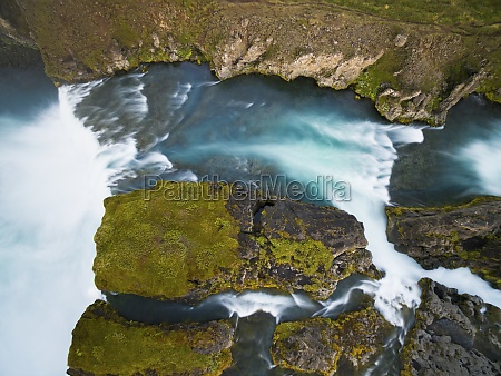 aerial view of waterfall captured with