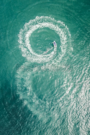 aerial view of a boat at