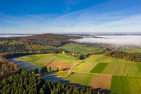 panoramic aerial view of an autumn