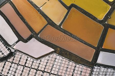 aerial view of salt pans of