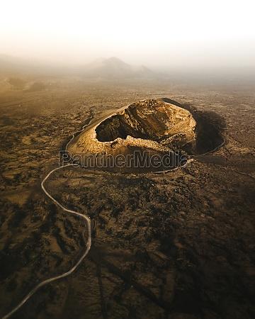 aerial view of el cuervo volcano