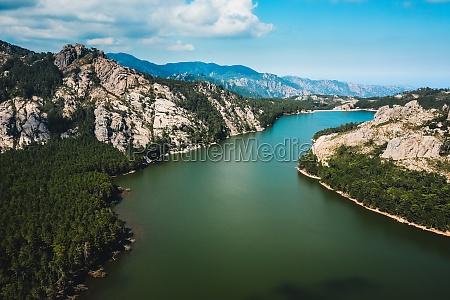 aerial view of lake de lospedale