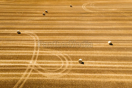 abstract aerial view of straw bales