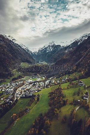 aerial view of snowy peaks of