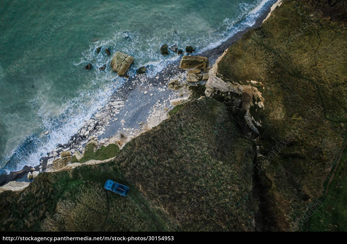aerial, view, of, car, on, cliff - 30154953