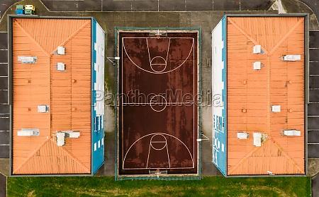 aerial view basketbal court in between