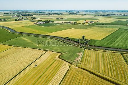 aerial view of farmland in friesland