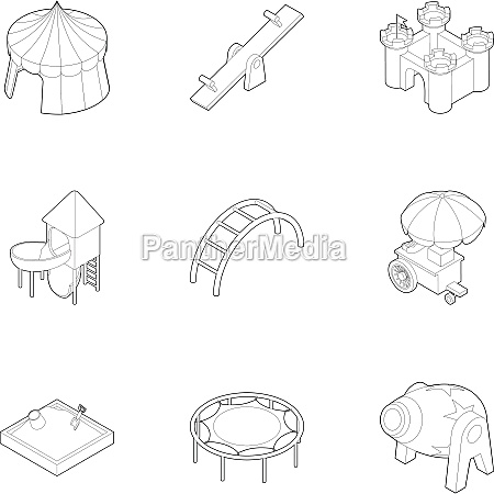 kids games icons set outline style