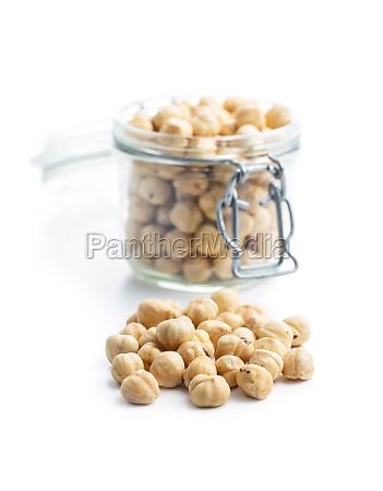 peeled roasted hazelnut kernels isolated on