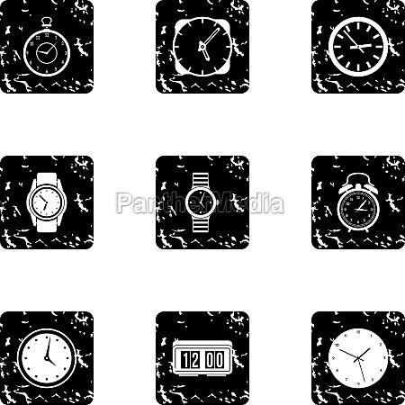 watch icons set grunge style