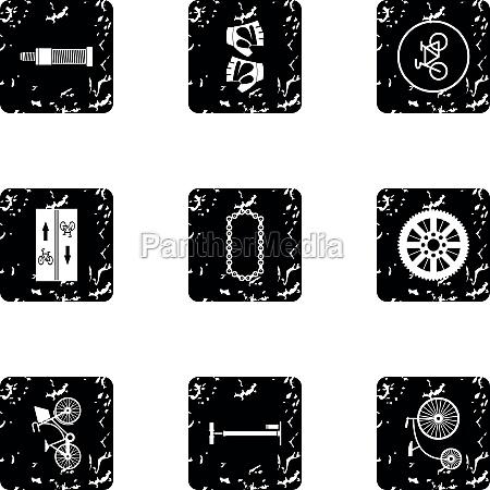 bike icons set grunge style